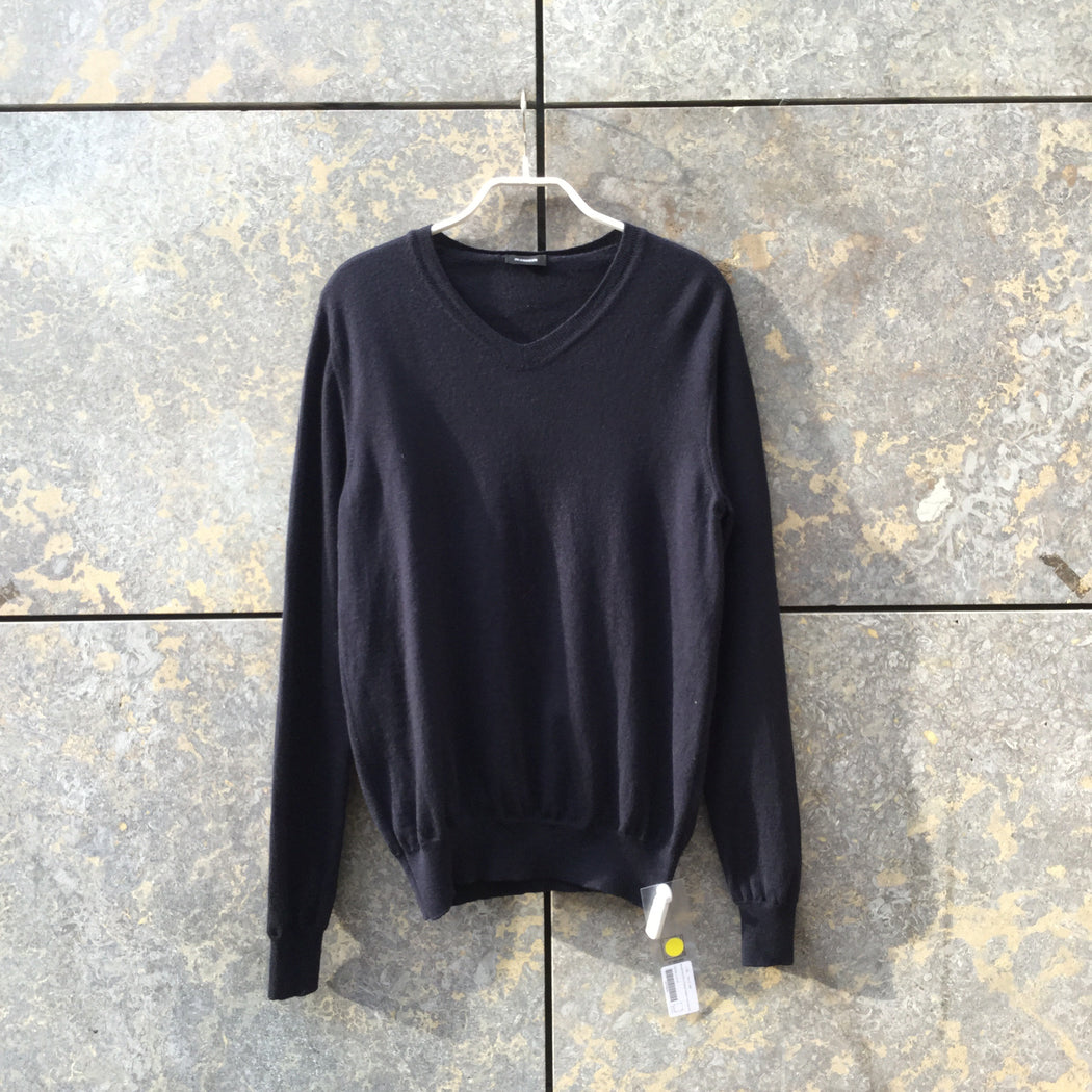 Midnight Blue Wool Jil Sander Sweater V-neck Size S/M