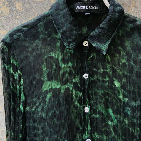 Sage-Dark Moss Rayon Contemporary Main Shirt Button Through Size L/XL