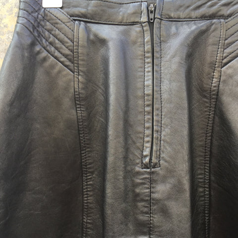 Black Leather Vintage Mini Skirt Stitching Detail Size 25/26