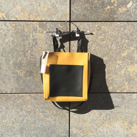 Mustard Leather Contemporary Leather Tote  Size Os