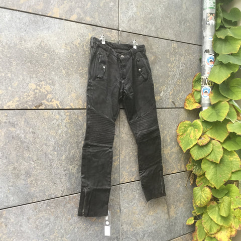 Black Leather Tigha Straight Fit Pants Multi Pocket Size 34