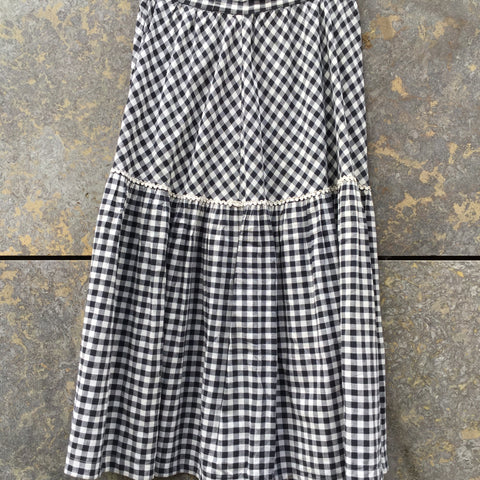 Black-White Cotton Vintage Midi Skirt Ruched Size 26/27