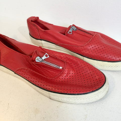 Red Leather Yohji Yamamoto Sneakers Zippered Mesh Size 41