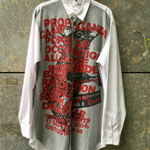 Pastel Pink-Grey Cotton Comme Des Garcons - Shirt Shirt Oversized Size L/XL