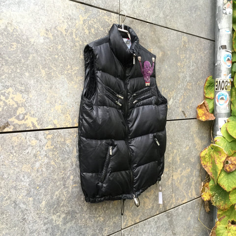 Black Down Contemporary Main Vest Zippered Size M/L