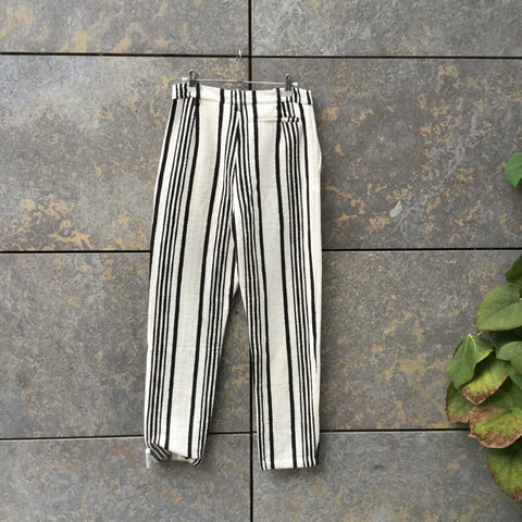 White-Black Cotton Mix Contemporary Main High Waist Pants  Size 26/27