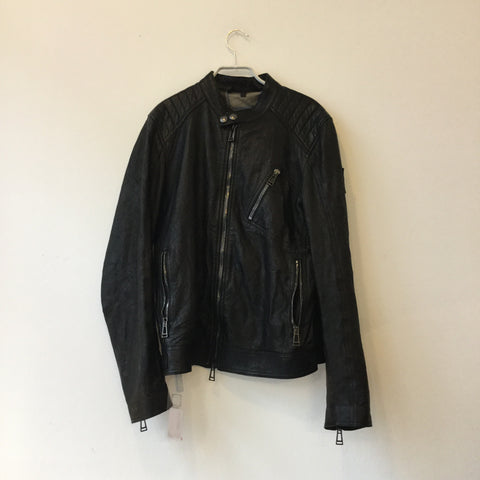 Black Leather Belstaff Leather Jacket Zippered Size M/L