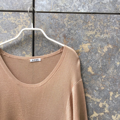 Nude Brown Rayon Acne Studios ( mens ) Knit Top Extended Size M