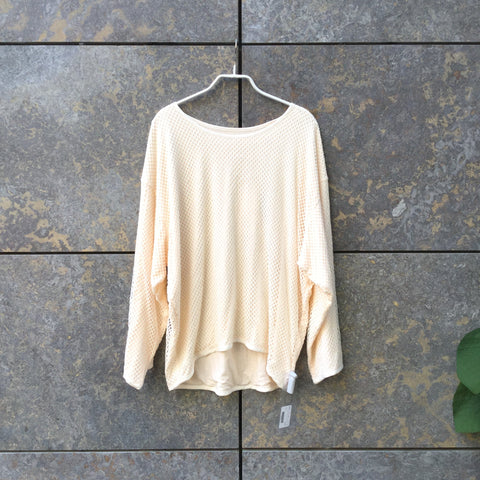 Cream Cotton / Poly Mix Independent Designer Top LS Oversized Size S/M