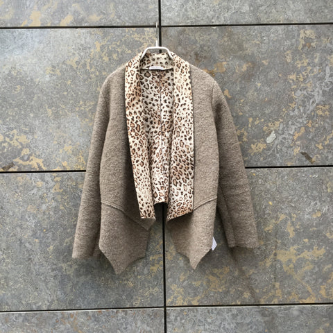 Beige Wool Mix Contemporary Main Blazer Asymetric Loose-fit Size M/L