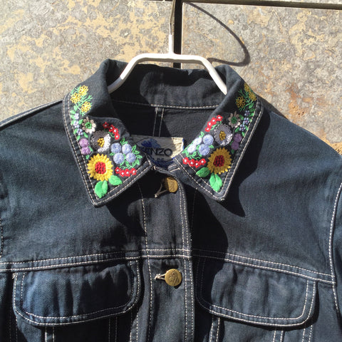 Denim Blue Denim Kenzo Jeans Jacket Collar Detail Size S/M