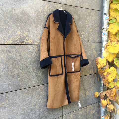 Tan-Navy Polyester Modern Independent Trench Coat Convertible Oversized Size M/L