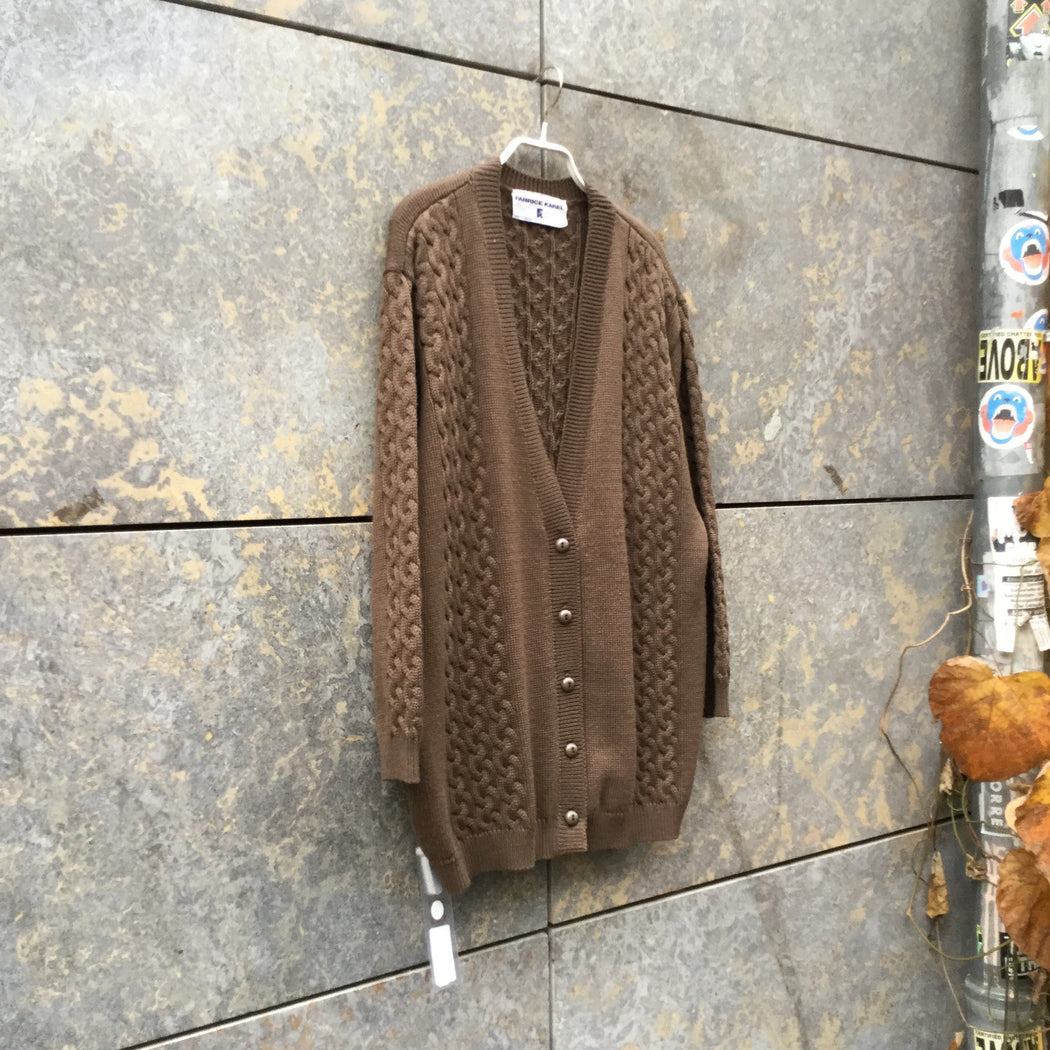 Brown Wool Mix Contemporary Cardigan Button Through Size L/XL