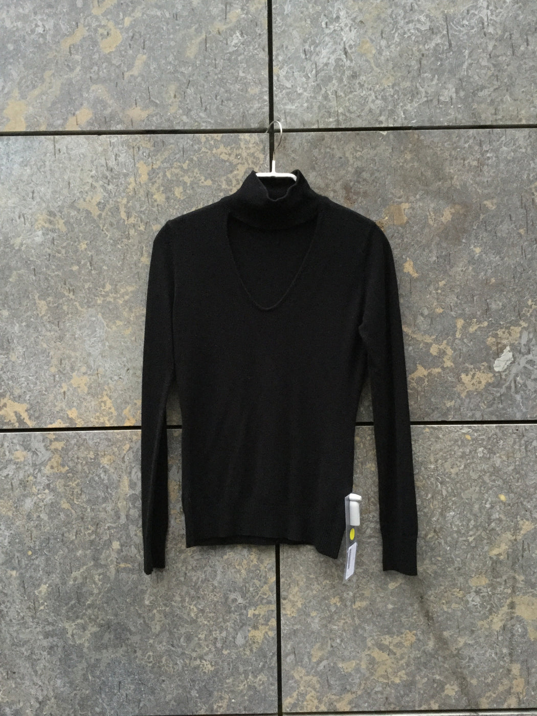 Black Wool / Acrylic Mix Contemporary Main Turtle Neck Cut Up Size XS/S