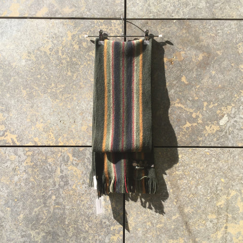 Dark Color Mix Wool Barbour Winter Scarf Fringy