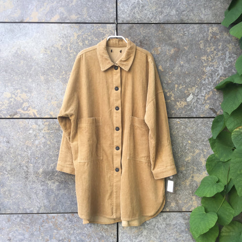 Curry Corduroy Vintage Light Jacket Oversized Pocket Size M/L