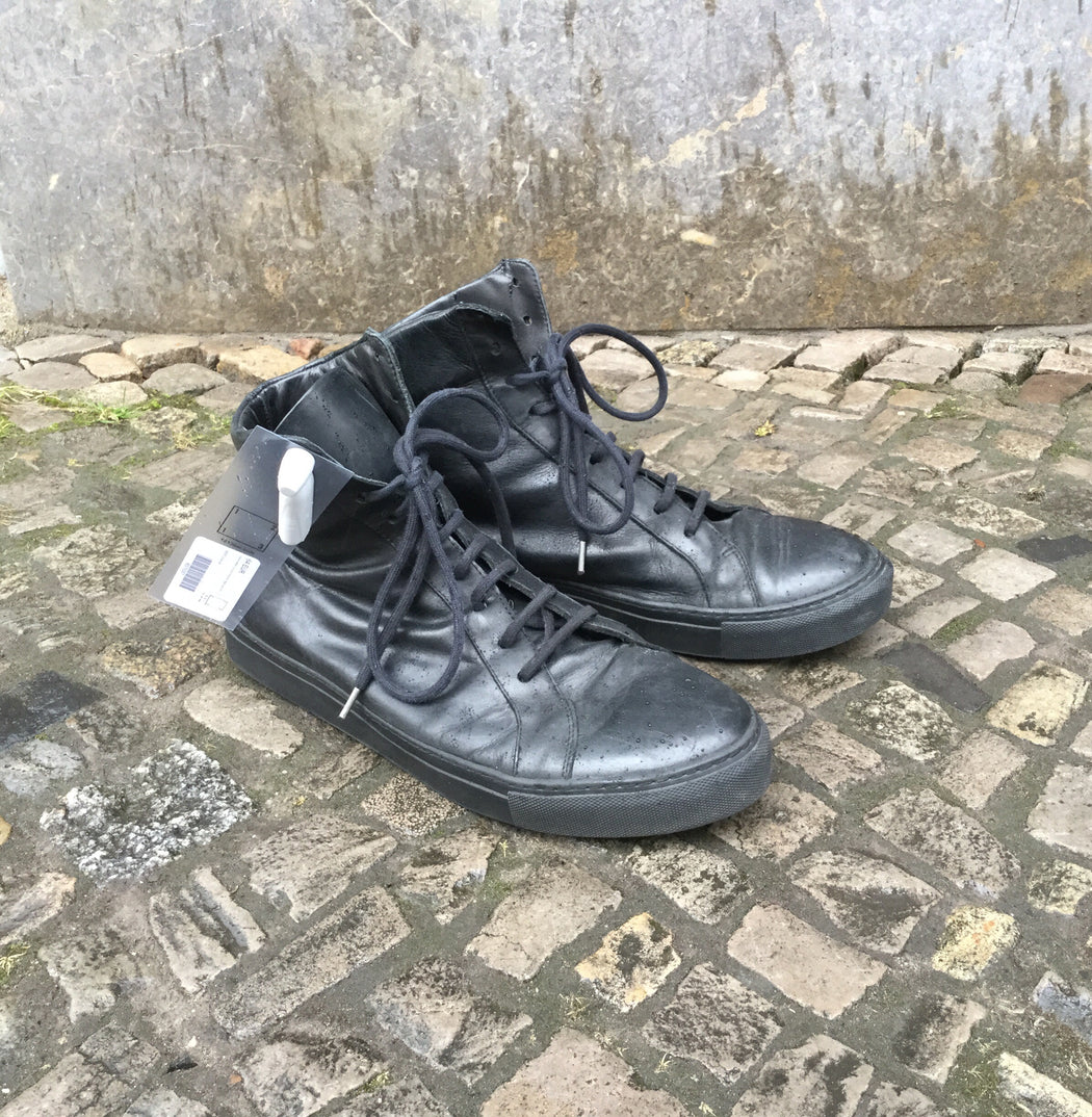 Black Leather The Last Conspiracy High-Tops  Size 11.5