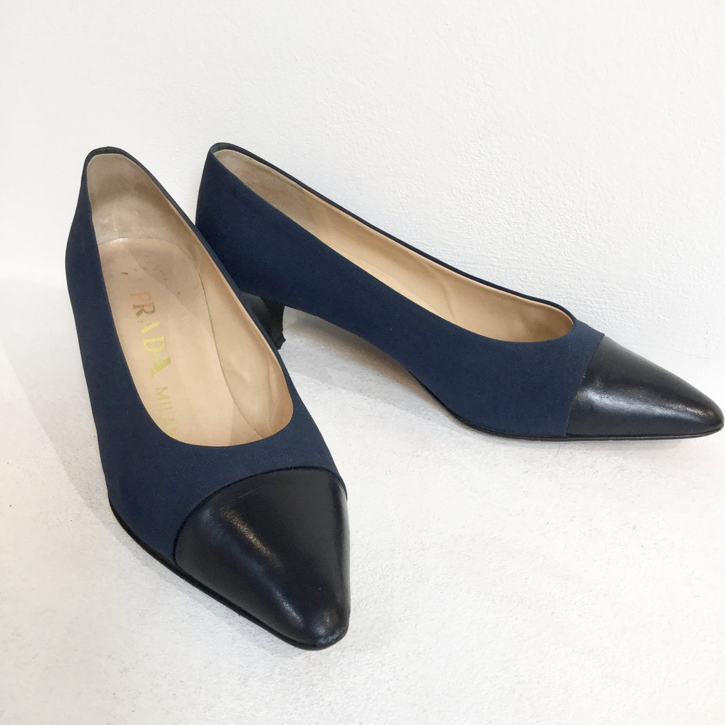 Midnight Blue-Black Leather/synthetic Mix Prada Shoes Pumps Heels  Size 39