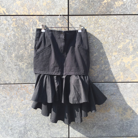 Black Cotton Y-3 Skirt Conceptual Detail Size 28/29
