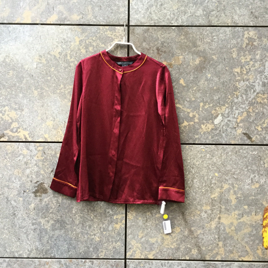 Maroon Silk Marc By Marc Jacobs Silk Blouse Loose-fit Size XXS/XS