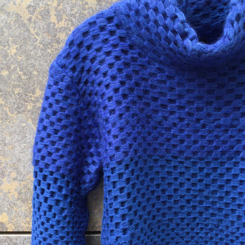 Royal Blue Wool Mix Independent Sweater Turtle Neck Size S/M