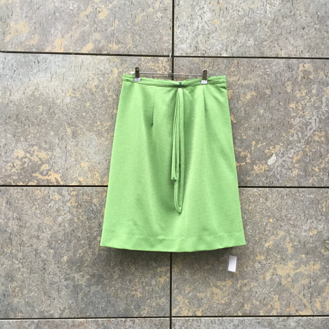 Green Polyester Mix Directional Vintage Midi Skirt Rope Size 32/33