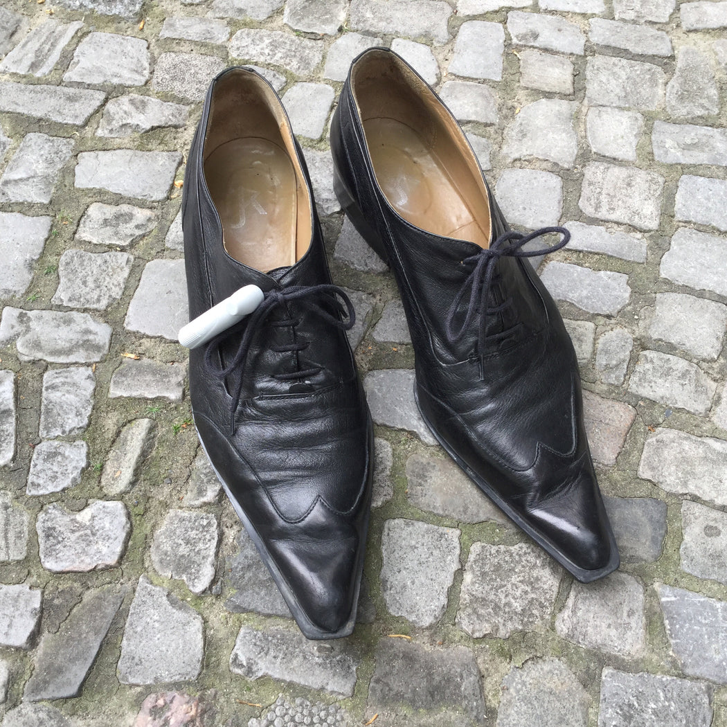 Black Leather Vintage Oxford Heels Pointy Toe Size 7