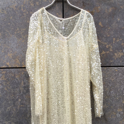 Pearl Polyester Modern Love Copenhagen Maxi Dress Layered Sequened Size S/M