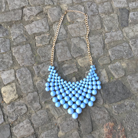Light Blue Plastic Contemporary Main Necklace Beeded Big Size Os
