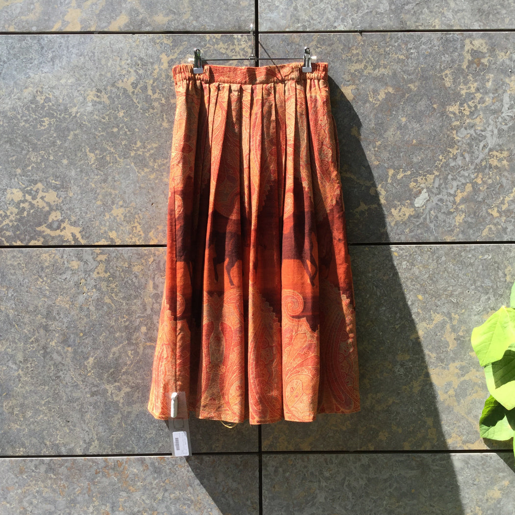 Brown Tone Mix Wool Vintage Maxi Skirt Pleated Size 32/33