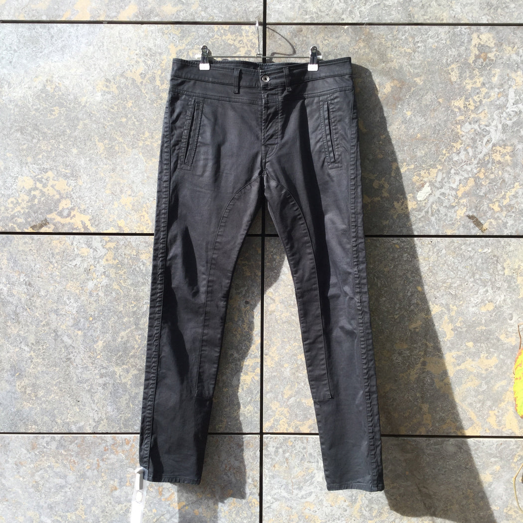 Black Cotton / Poly Mix Diesel Black Gold Trousers Waxed Size 32