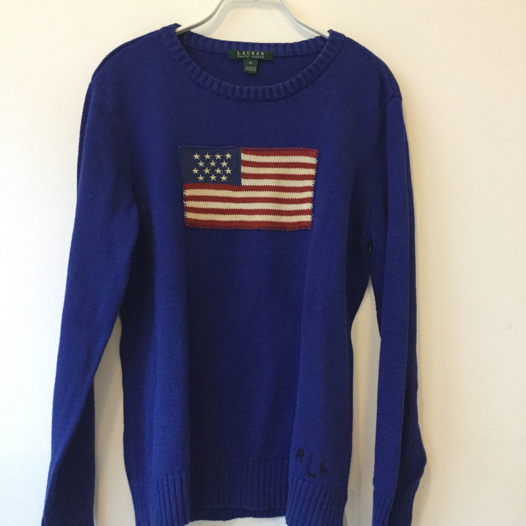 Midnight Blue-Tricolor Cotton Lauren Ralph Lauren Sweater Boxy Size M/L