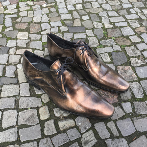 Black-Gold Leather Christian Dior Oxfords Pattent Size 12