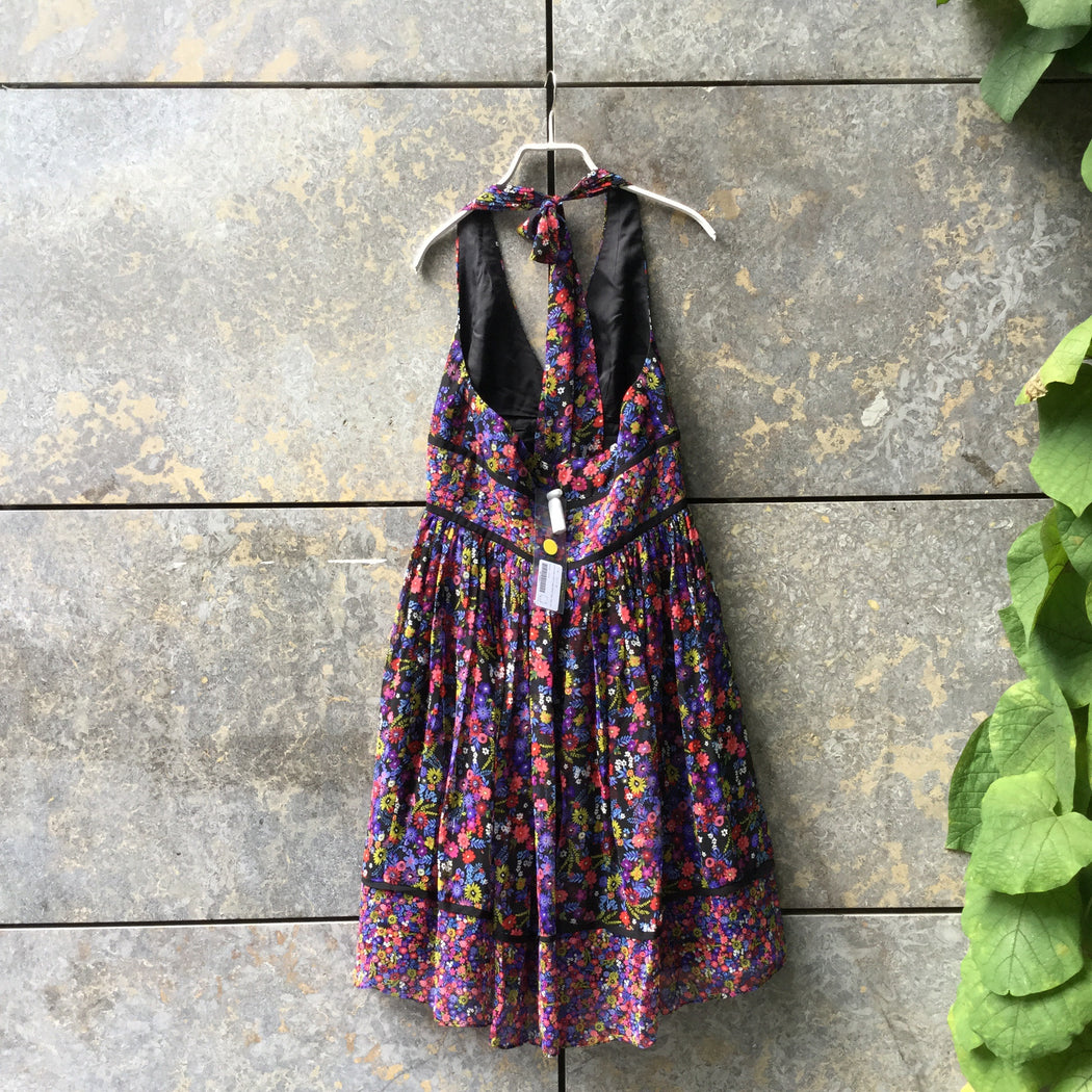 Colorful-Black Silk Vintage Halter Dress  Size M/L
