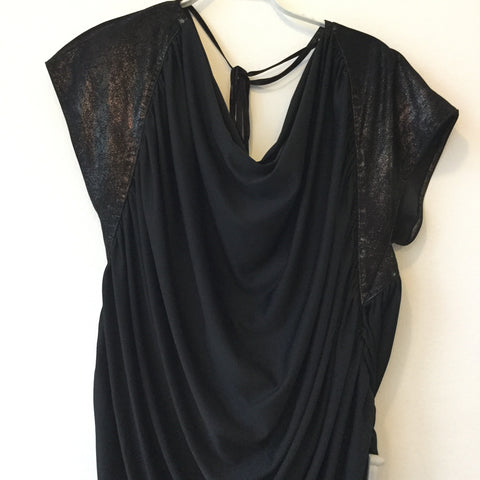 Black Polyester Modern Vintage Top short sleeve Sparkle Size Os