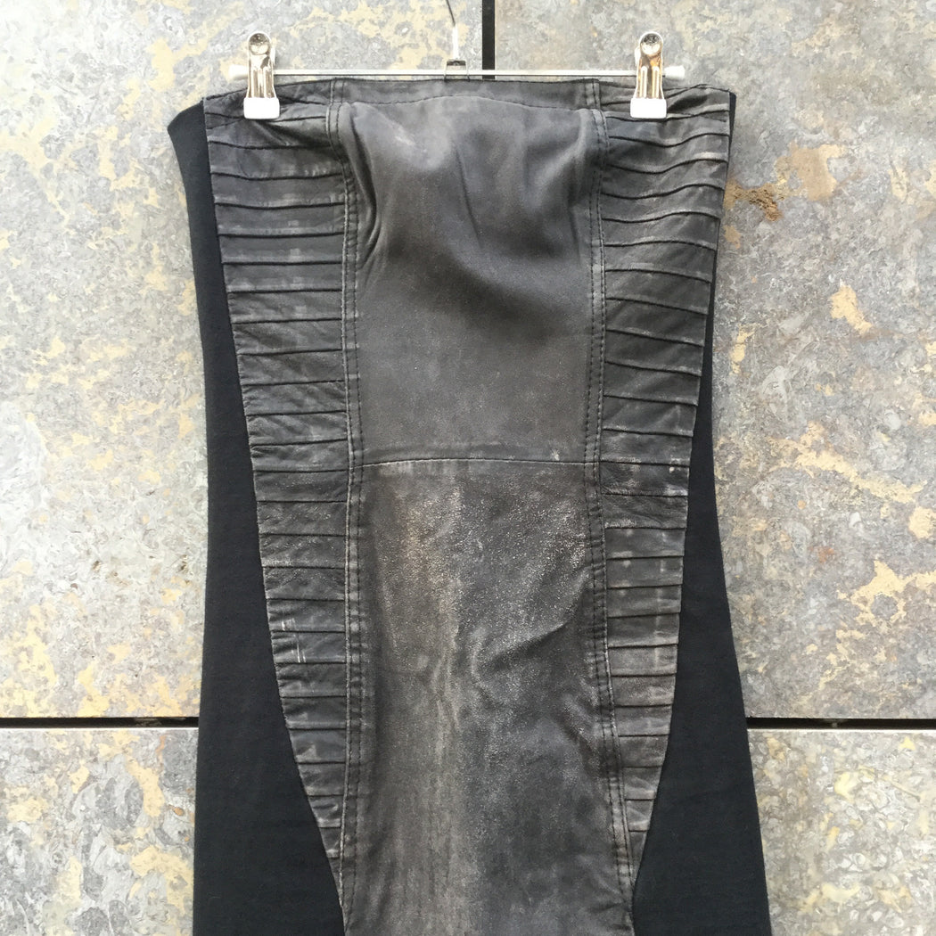 Grey Taupe-Black Leather/synthetic Mix Gestuz Body Con Sleeveless Size XS/S