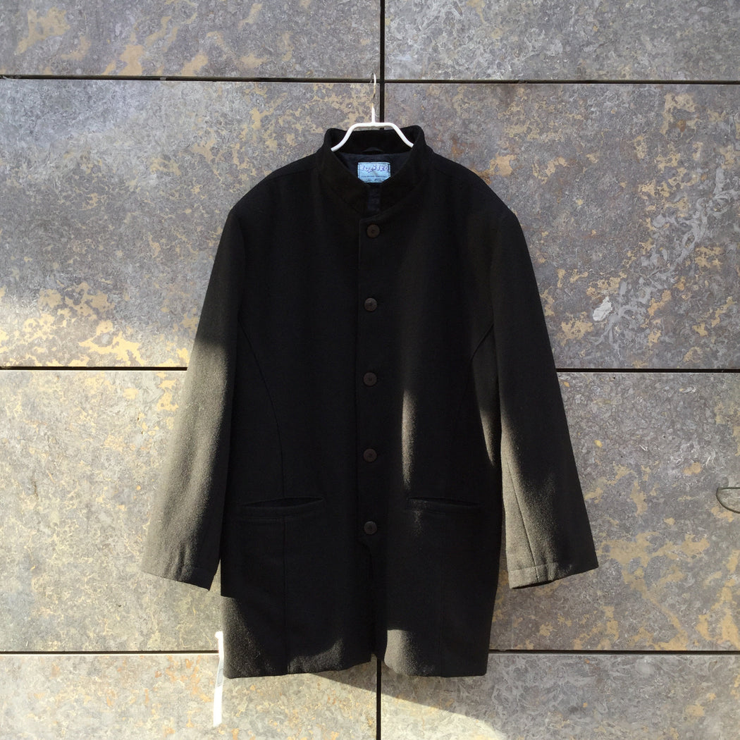 Black Wool Independent Designer Jacket Mandarin Collar Size Xxl