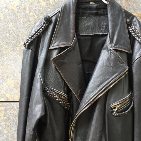 Black Leather Vintage Biker Jacket Zippered Size Xl