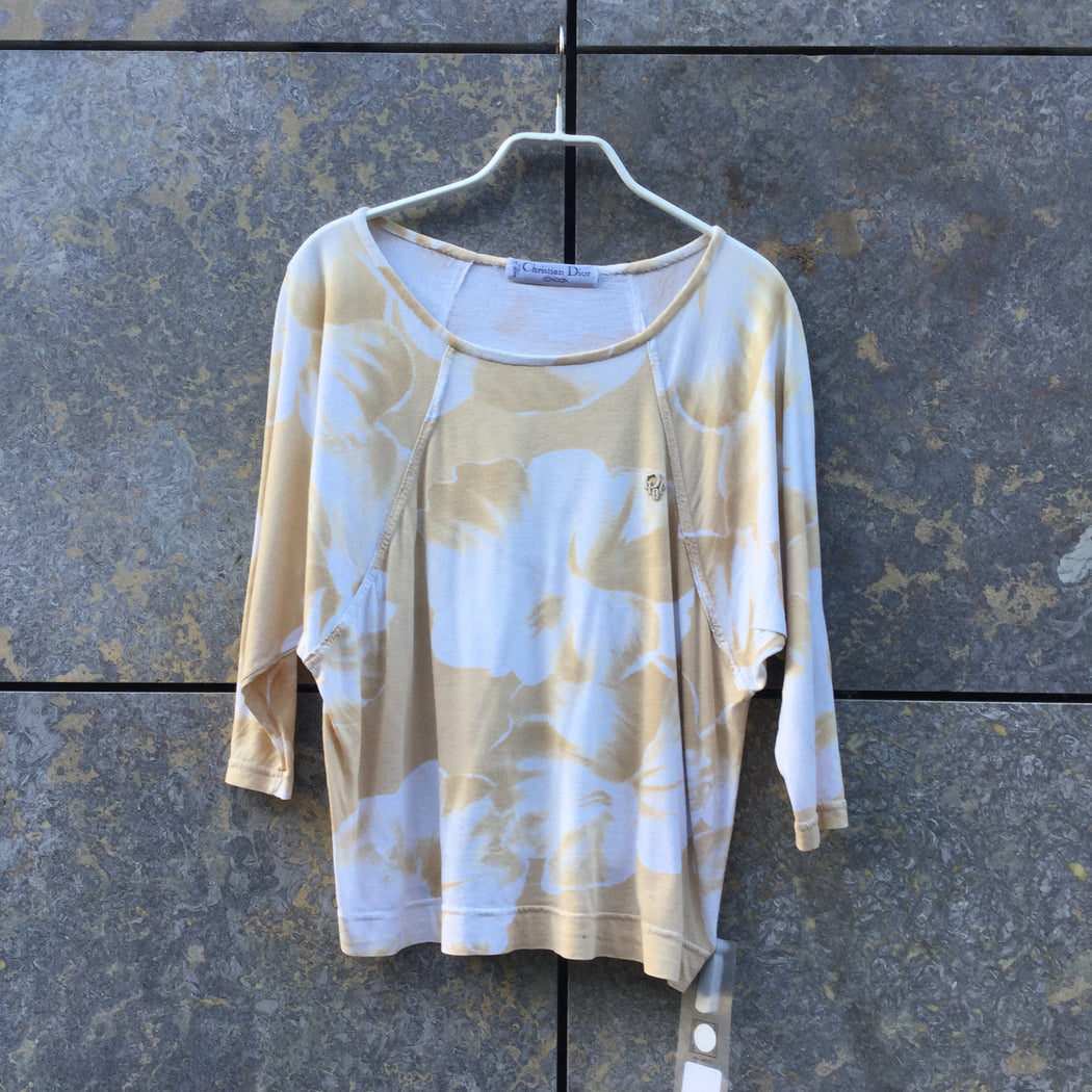 White-Khaki Cotton Christian Dior T-shirt Batwing Size XS/S