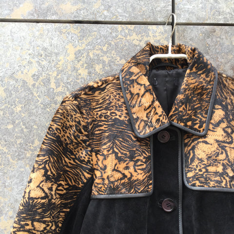 Black-Tan Leather Vintage Leather Jacket  Size S/M