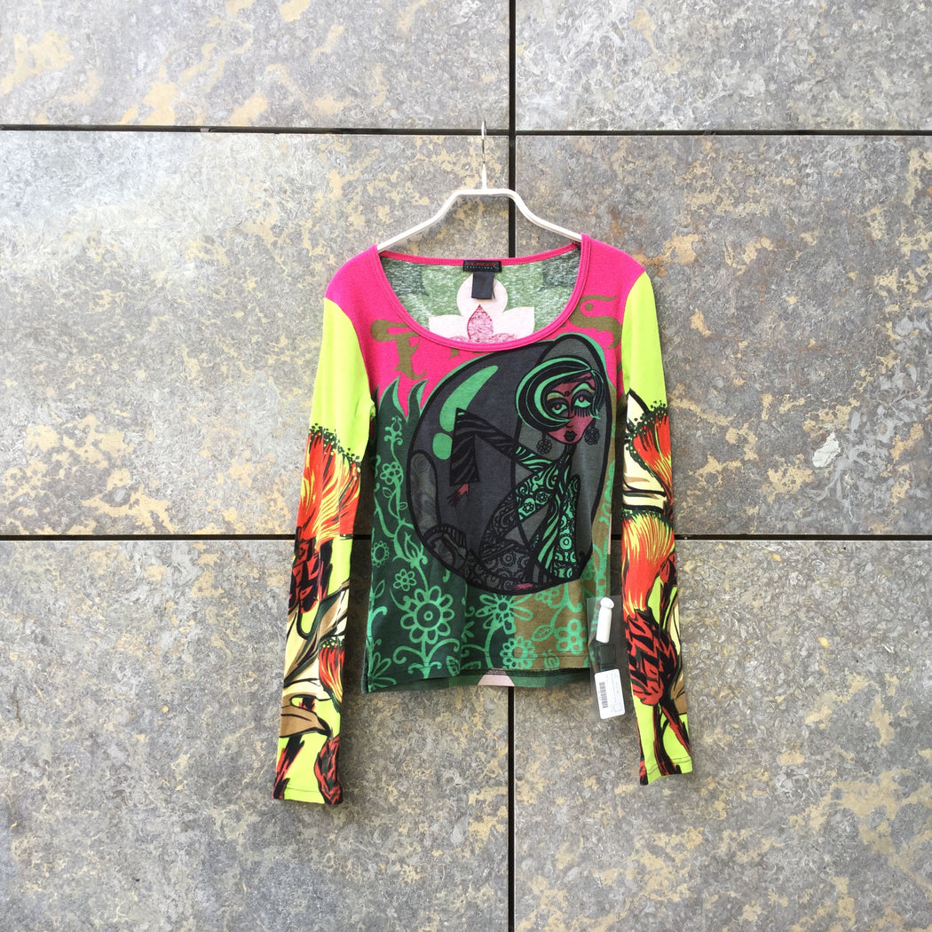 Colorful Polyester Mix Vintage Top LS  Size S/M