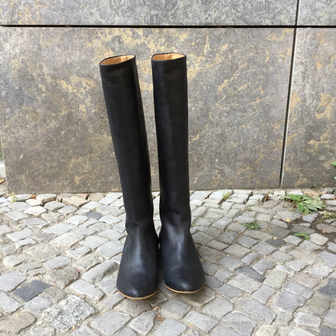 Black Leather H&M X Maison Martin Margiela Knee-High Boots  Size 7.5