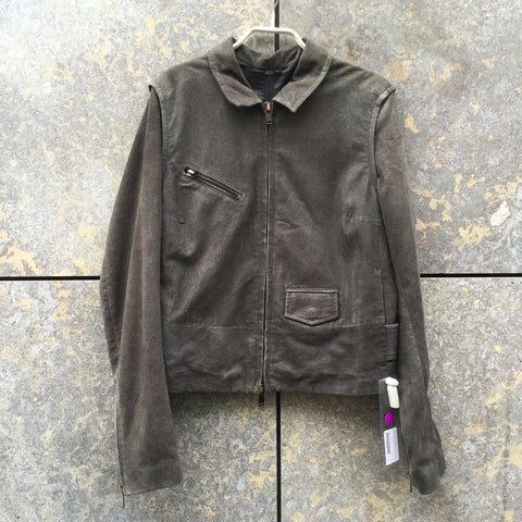 Dark Grey Suede Mm6 Maison Margiela Trucker Jacket Zippered Conceptual Detail Size S/M