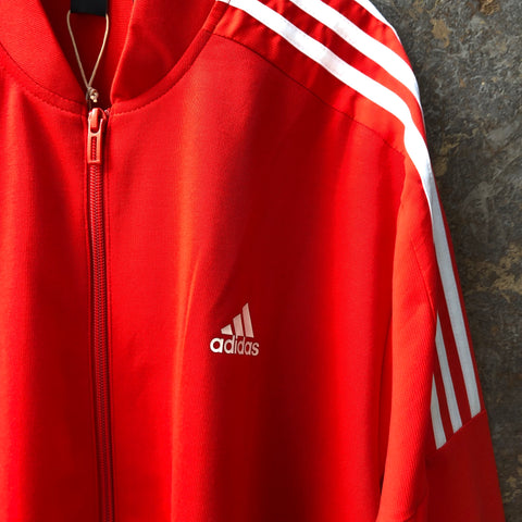 White-Red Polyester Modern Adidas Zip Jacket  Size L/XL