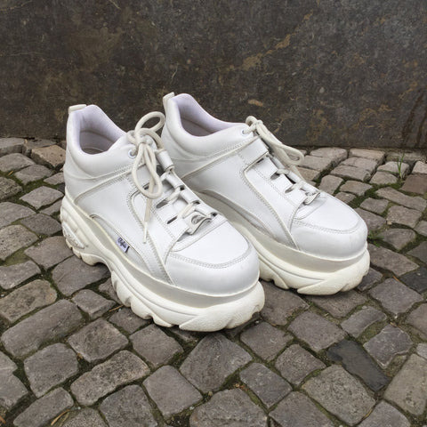 White Leather Buffalo Platform Sneakers  Size 9
