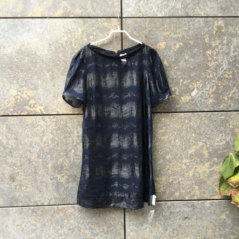 Midnight Blue Polyester Modern Contemporary Main Cocoon Dress Sheer Size S/M