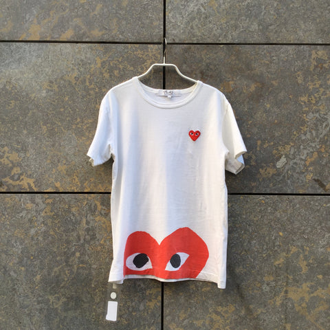 White-Red Cotton Comme Des Garcons - Play T-shirt  Size S/M