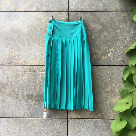 Turquoise Silk Vintage Midi Skirt Pleated Size 30/31