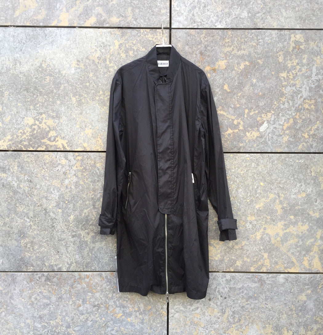 Black Nylon Han Kjobenhavn Rain Coat Elongated Size M