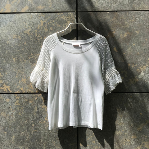 White Cotton / Polyamide Mix See By Chloé Top short sleeve Ruffled Lace Detail Size M/L
